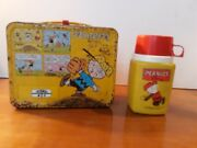 Vintage Peanuts Metal Lunch Box 1965 Snoopy Charlie Brown With Thermos