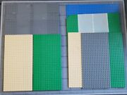 Lego Vintage 32x32 And 32x16 Road Lot Of 10 Base Plates Grey Green Blue