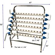 Plant System Hydroponic Site Grow Kit 66 Holes With Stainless Steel Holder Usnew
