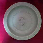 Chinese Antique Southern Song Longquan Celadon Twin Fish Dish