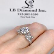 0.80 Ct Semi Mount Engagement Ring Round And Baguette Diamonds In 18 K White Gold