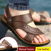 Summer Men Genuine Leather Sandals Casual Sports Beach Shoes Soft Home Slippers