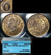 Elite Varieties Canada Large Cent 1859 Wide 9/8 Repunched O/o Ms63 Cccs A303
