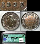 Elite Varieties Canada Large Cent 1893 Repunched 9 Hi/lo - Icg Ms60 A421