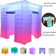 8.2ft Cube Inflatable Photo Booth Air Tent With 2 Led Light Strips 2 Doors Party