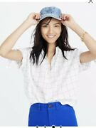 Madewell Central Tie-sleeve Shirt In Windowpane White Size S H8286 Nwt