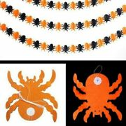 🕷2 X Spider Halloween Garland 3 Metres Paper Banner Decoration Bunting Party🕷