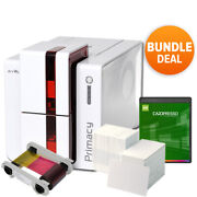 Evolis Primacy Expert Fire Red Dual Side Complete Photo Id Card Printer Bundle