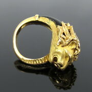Vintage French 0.15ct Diamond And Onyx 18k Yellow Gold Lion Ring