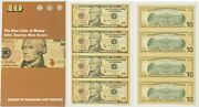 2004 A 10 Star 4 Note Uncut Sheet New York District In Bep Display Card 636