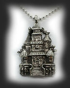Halloween Haunted House Sterling Silver Pendant