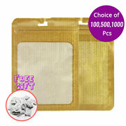 4x6in Matte Gold Mylar Zip Lock Bag W/ Clear Window And Euro Slot W/ Desiccant G01