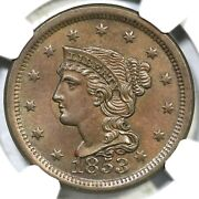 1853 N-27 R-2 Ngc Ms 64 Bn Braided Hair Large Cent Coin 1c