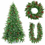 Pre Decorated Artificial Christmas Trees Xmas Pre Lit Garland Wreath Decorations