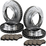 [front And Rear] 4 Drilled Only Performance Brake Rotors +8 Ceramic Pads Atl053809