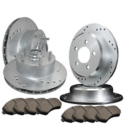 [front And Rear] 4 Drilled Only Brake Rotors And 8 Semi-metallic Pads Atl049561