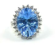 Oval Swiss Blue Topaz And Diamond Halo Solitaire Ring 14k White Gold 15.43ct