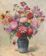 Carl Wuermer German 20th C. Oil On Canvas Painting Bouquet Of Flowers, Signed