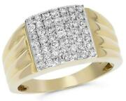 Estate Wide .97ct Round Cut Diamond 14kt Yellow Gold Multi Row Square Menand039s Ring