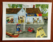 Ross Bros Post Card Old Town Canoe Dealer And Unique Sunoco Gas Station Post Card