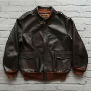 Rrl Double Rl Leather A-2 Flight Jacket Size L Brown 40s
