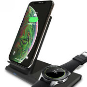 2 In 1 Fast Qi Wireless Charger Dock Pad For Samsung Galaxy S10 Gear S2 S3 Watch