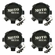 4x Moto Metal Gloss Black Wheel Center Hub Caps 6-3/4od For 8x6.5 8x165.1 Mo995