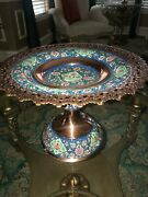 Persian Cookie Dish Khatam With Turquoise Stone And Copper By Master Mr Aghajani
