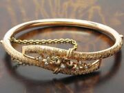 14kt 585 Rose Gold Art Deco Bangle With Seed Beads Decorations/antique/10,4g/