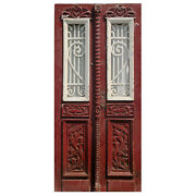 """Reclaimed Pair Of 39"""" French Colonial Doors With Iron Inserts, Ned1071"""