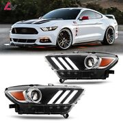 15-17 For Ford Mustang Aftermarket Replacement Projector Headlights Headlamps