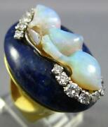 Antique Large .93ct Diamond And Aaa Opal And Lapis 18kt Yellow Gold 3d Oval Fun Ring