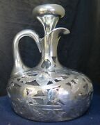 Vintage Early 20th Century Black, Starr And Frost Sterling Silver Overlay Decanter