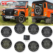 Smoked Complete Led Lamp Upgrade Kit 73mm For Land Rover Defender 90 110 1983-