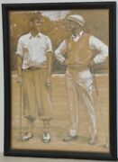 Vintage Graphite And Gouache Golf Illustration By A.d. Mills C.1933