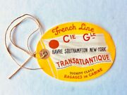 Vintage French Line Cgt Baggage Tag Ile De France 1953 Cruise Ship