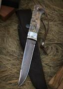 Custom Exclusive Authorand039s Mosaic Damascus Knife Russian Bear
