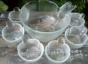 Very Rare Scandinavian Style Ribbed Art Glass Bowls Set Kitchen Collectables Aus