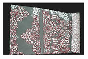 Lily White Franch Lace Fabric Burgundy Cording Beaded Floral Textile By Yardage