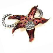 Antique 14k Gold, Sterling Silver, Enamel And Diamond Snake Lily Pin Brooch