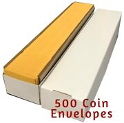 Quality Small Paper Envelopes 2x2 Coin Holders Kraft W/ Flap Storage Box Of 500