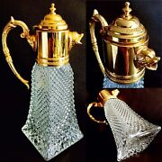 Antique Crystal And Gold Plate Wine Or Claret Carafe / Decanter / Pitcher / Jug