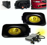 For 2004-2005 Acura Tsx 4dr Yellow Front Lower Bumper Fog Lights Lamp+3k Hid Set