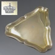 Antique French Sterlingandnbspsilver Vermeil Gold Washed Tray Royal Crown Andrandeacute Aucoc