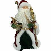 Vintage Kmart 1980s Santa Tree Topper Green And Red Rob Holding Golden Staff