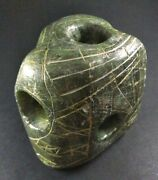 Collectible Unusual Eskimo Inuit Soapstone Hand Carved Sculpture/tool W Holes