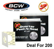 200 Bcw Peel N Seal 2x2 Self Adhesive Flips Quarter Coins Archival Clear Holders