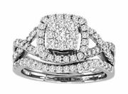 1.ct Diamond 14k White Gold Round Square Cluster Halo Love Knot Promise Ring Set