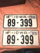 Iowa License Plates Pair Chevy Ford Pontiac Yom Cadillac Dodge Buick Olds 50 51