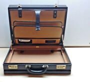 Vintage Bally Italian Doctor Lawyer Black Leather Briefcase Attache Case Bag